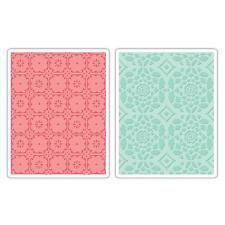 Sizzix Embossing Folders - Fleur Tile & Kaleidoscope Crescents Set 657397