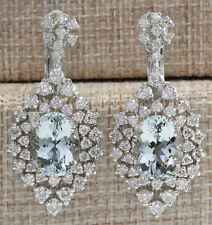 16.73 Carat Natural Aquamarine 14K White Gold Diamond Earrings