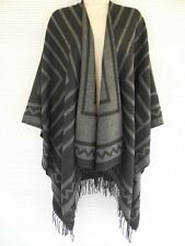 Zig Zag Knit Sleeveless Wrap Cape Sweater Cardigan Shawl Poncho One Size Gray