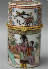 Chinese Porcelain Palace Belle play music Round Toothpick jewel coccoloba