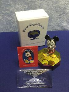 Swarovski Arribas Jeweled Mickey Mouse Pave 14012000 Ltd Ed '97 Plaque/Stand/COA