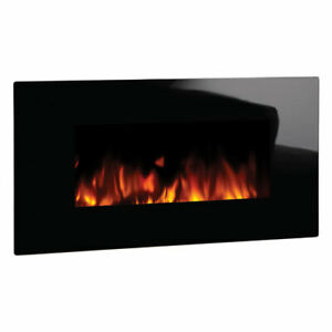Studio 2 Wall Mounted Electric Fire with Black Glass Frame