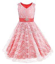 Mädchen Kinder Festlich Faltenrock Sommerkleid Festkleid Kostüm Hochzeit Kleid