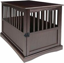 Large Dog Pet Crate End Table Furniture Wood Espresso Family Room New