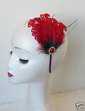 Red Feather Headpiece Peacock Fascinator Headband Silver Vintage 1920s 1940s N95