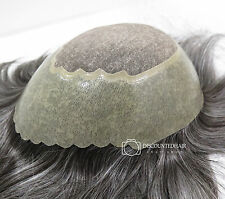 Mens Real Hair Fine Mono Hair Replacement System Skin Grey Toupee Hairpiece 1B50