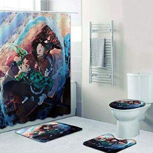 "4PC Bathroom Set of Demon Slayer "" Absorbent Bath Mat Shower Curtain Toilet Rugs"