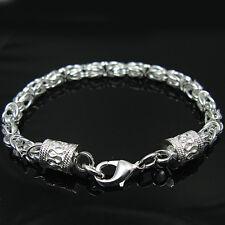 925 Silver Jewelry New Dragon Head Chain Men Women Bracelet 5Mm Hp096