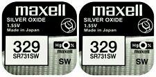 2 x Maxell 329 Pila Batteria Orologio Mercury Free Silver Oxide SR731SW 1.55V