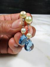 Cultured Salt Water Pearl Drop Earrings Vtg 14K White Gold Diamond Blue Topaz