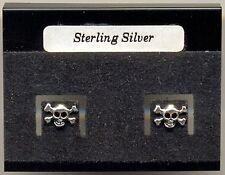 Small Skull & Crossbones Sterling Silver 925 Studs Earrings Carded