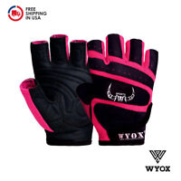 WYOX Ladies Weight Lifting Training Gym Workout Leather Glove Women Fitness Pink