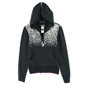 BABY PHAT Black Sequin Logo Full Zip Hoodie Jumper Sweater Size M