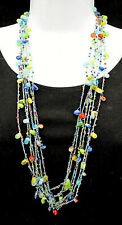 """Gorgeous Woven Blue String Necklace Jelly Bean Glass Beads Mixed Colors 32"""""""