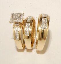 Yellow Gold and diamond Wedding Bands & Engagement ring Man's & ladies Trio Set