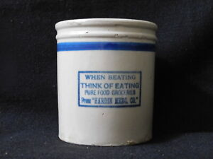 Antique Redwing Red Wing Pottery Hardin Merc MONTANA Beater Jar Stoneware Crock