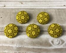 "5 Vtg Nos Cloth Fabric Covered Shank Buttons 7/8""Yellow Mustard Flower Floral"