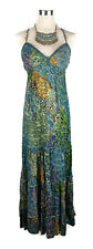 ISHKA Hippy Dress - Paisley Floral Print Maxi Tiered Green Blue Vintage S/M/8/10