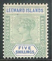 Leeward Islands 1890 green/blue 5/- crown CA mint SG8