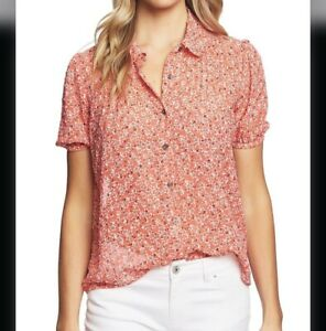 CeCe Blouse M Desert Floral Raised Dot Bay Coral Short Sleeve Button Front NEW