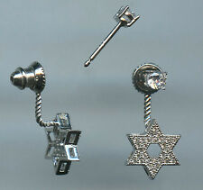 Star of David Studs with Jacket Earrings 925 Sterling Silver & Sparkling Cz Pave