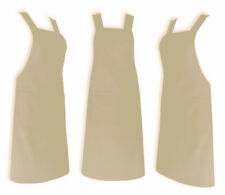Beige Chef Apron, 100% Cotton Catering Cooking Professional Quality