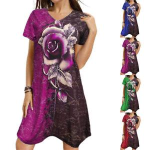 Womens Short Sleeve V Neck T-Shirt Dress Ladies Casual Loose Rose Print Sundress