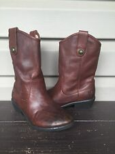 Frye Boys Youth Melissa Button Leather Cowboy Western Boot Brown Sz 1.5 Euc $158