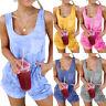 Womens Summer Tie Dye Sleeveless Jumpsuit Shorts Romper Pants Casual Loungewear