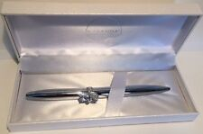 MARANDA-TI Silver Colour Lightweight Ballpoint Pen with Cat Shaped Crystal Ring