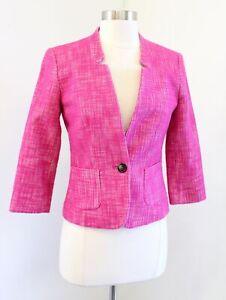 Banana Republic Pink White Boucle Tweed One Button Blazer Suit Jacket Size 0