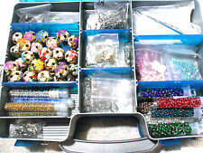 MIXED BEADS-CLASPS-SPLIT RINGS-LANYARDS + LOTS MORE in 2 SIDED CRAFT CASE