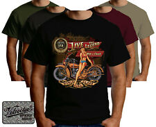 Velocitee Mens T-Shirt Legend Pin Up Classic Vintage USA Motorcycle Biker A23625