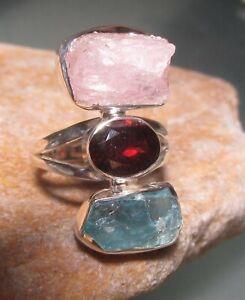 Sterling silver Morganite/garnet/aquamarine ring UK N½-¾/US 7. Gift bag.