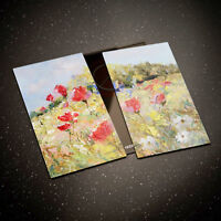 Tempered Glass Chopping Board Cooker Hob Cover Protect Poppies Oil Painting 0315