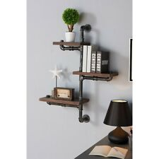 "Armen Living 30"" Orton Industrial Walnut Floating Wall Shelf, Silver - LCORSH30"