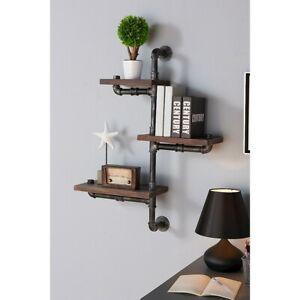 "Armen Living 30"" Orton Industrial Walnut Floating Wall Shelf, Silver - LCORSH30"