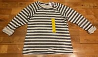 NWT Womens ELLEN TRACY Navy Stripe Rhinestone Sweater Top Size Small S