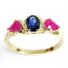 Natural Sapphire and Ruby Three-Stone Ring Solid 14k Gold  Sizes 4 to 9.5 #R426