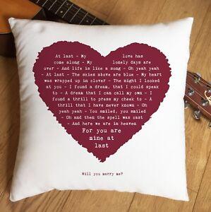 Etta James At Last Lyrics Heart Cushion - 2nd Cotton Anniversary Wedding Gift