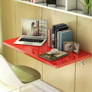 60*40cm Red Wall Mount Floating Fold Computer Desk Home Office PC Table US STOCK
