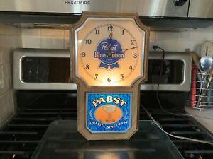 Vintage ~ Pabst Blue Ribbon Clock ~ Works And Lights Up!