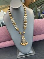 """1950's WOW Aurora Borealis Crystal Gold White Faux Pearl Tassel  Necklace  22"""""""