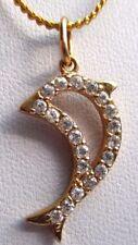 Beau pendentif collier bijou rétro plaqué or 18k poinçon dauphin cristaux  3078