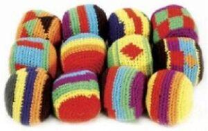 (12) Hacky Sack Guatemalan FootBag Tribal Ball Hackey Kick Bags Multi-Colored