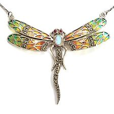 ART NOUVEAU PLIQUE A JOUR  BUTTERFLY NECKLACE RUBY MARCASITE OPAL 925 SILVER