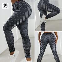 Women Yoga Pants Workout Gym Leggings Fitness Print Hip Push Up Scrunch Trousers