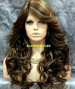 Long Wavy Bangs Brown Golden Blonde Mix Lace Front Full Wig Heat Ok Hair Piece