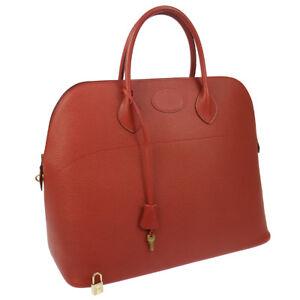 HERMES BOLIDE 45 Hand Bag Ardennes Red Vintage GHW GOOD AK31859g