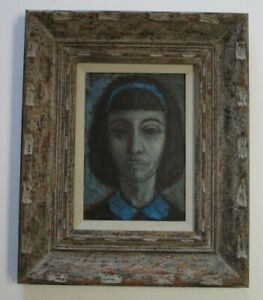 SCHNABEL SIGNED PAINTING VINTAGE 1960'S ABSTRACT EXPRESSIONISM PORTRAIT FEMALE
